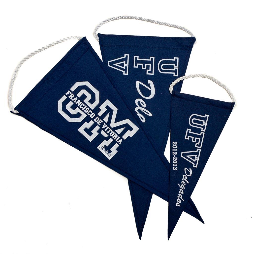 Banderines Azules en forma de triangulo con cordel blanco